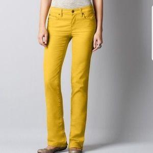 Loft Modern Straight Mustard Yellow Corduroy Pants